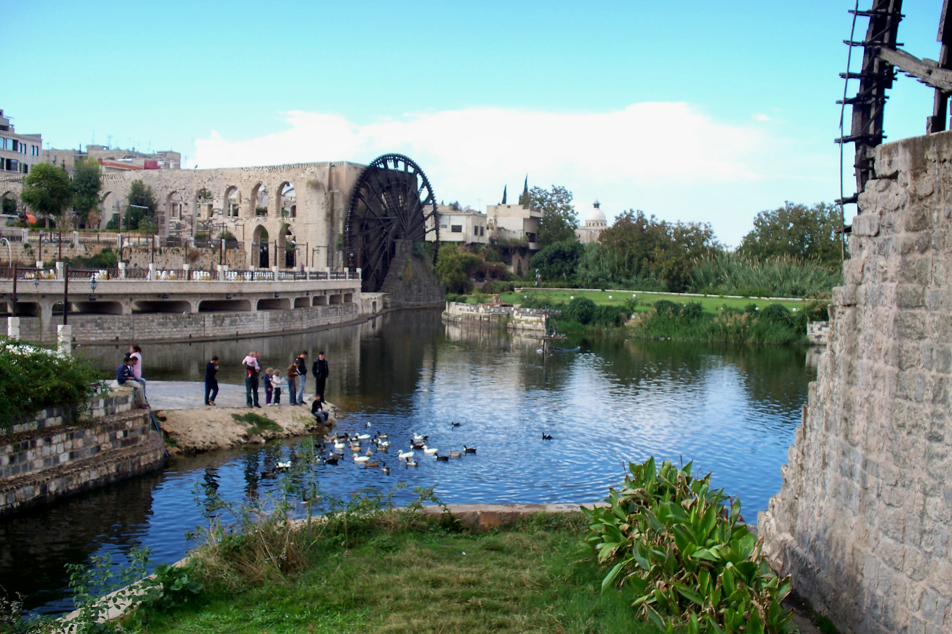 Centuries-old waterwheels speckle the Orontes River in  Hamah, Syria
