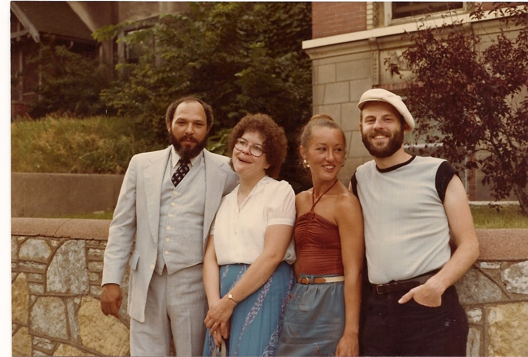 1981: Daniel & Judith Gabriel outside August Wilson's Grand Avenue apartment in Saint Paul, with the man himself and--I swear--a casual passerby whom August's wife Judy insisted be in the photo.