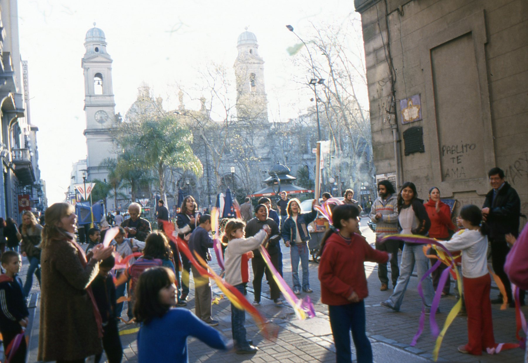 Just off Plaza de la Constitucion, students let loose.