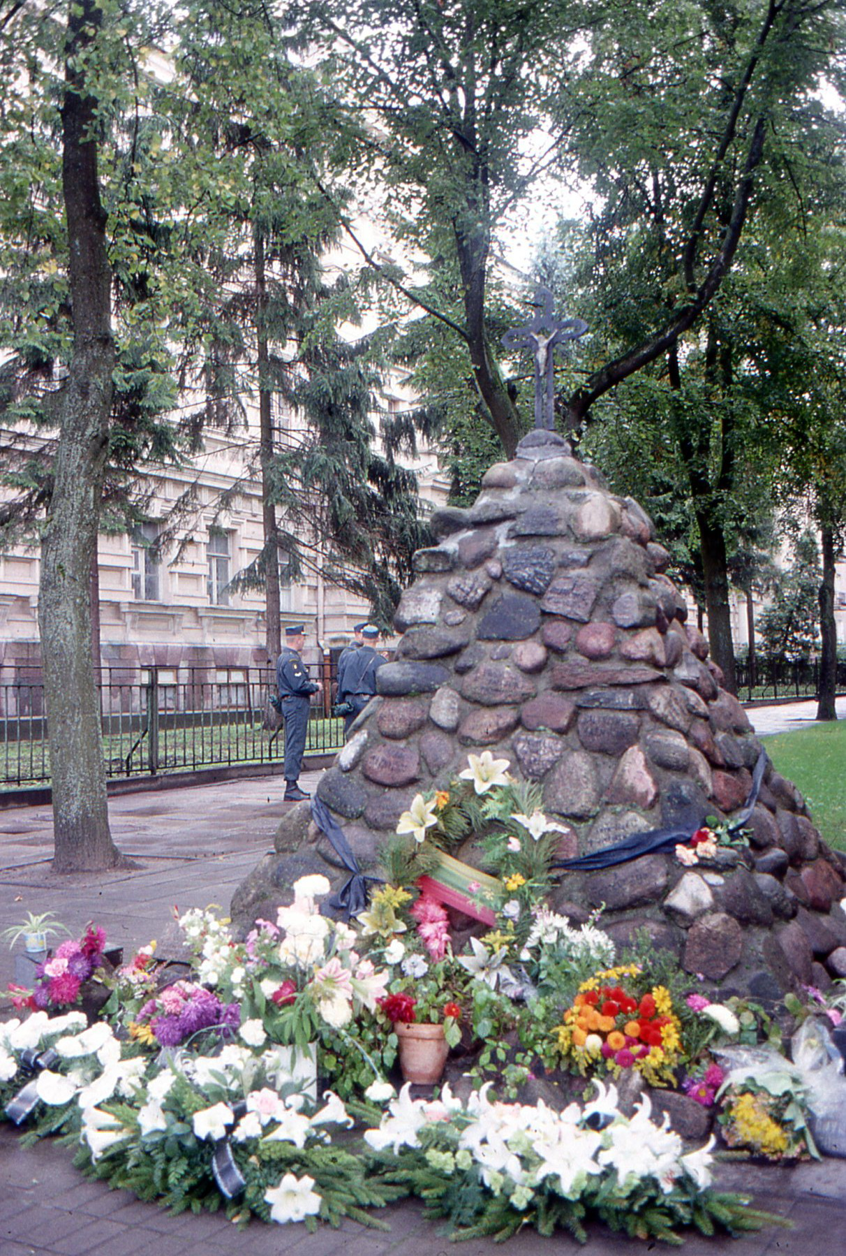 The flowers will linger, but not nearly as long as the memories. Every Lithuanian family lost a member to the hidden torture chambers on this square.