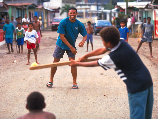 Playing stickball in the streets of Panama, Rivera is a shining beacon for the youth of his country.