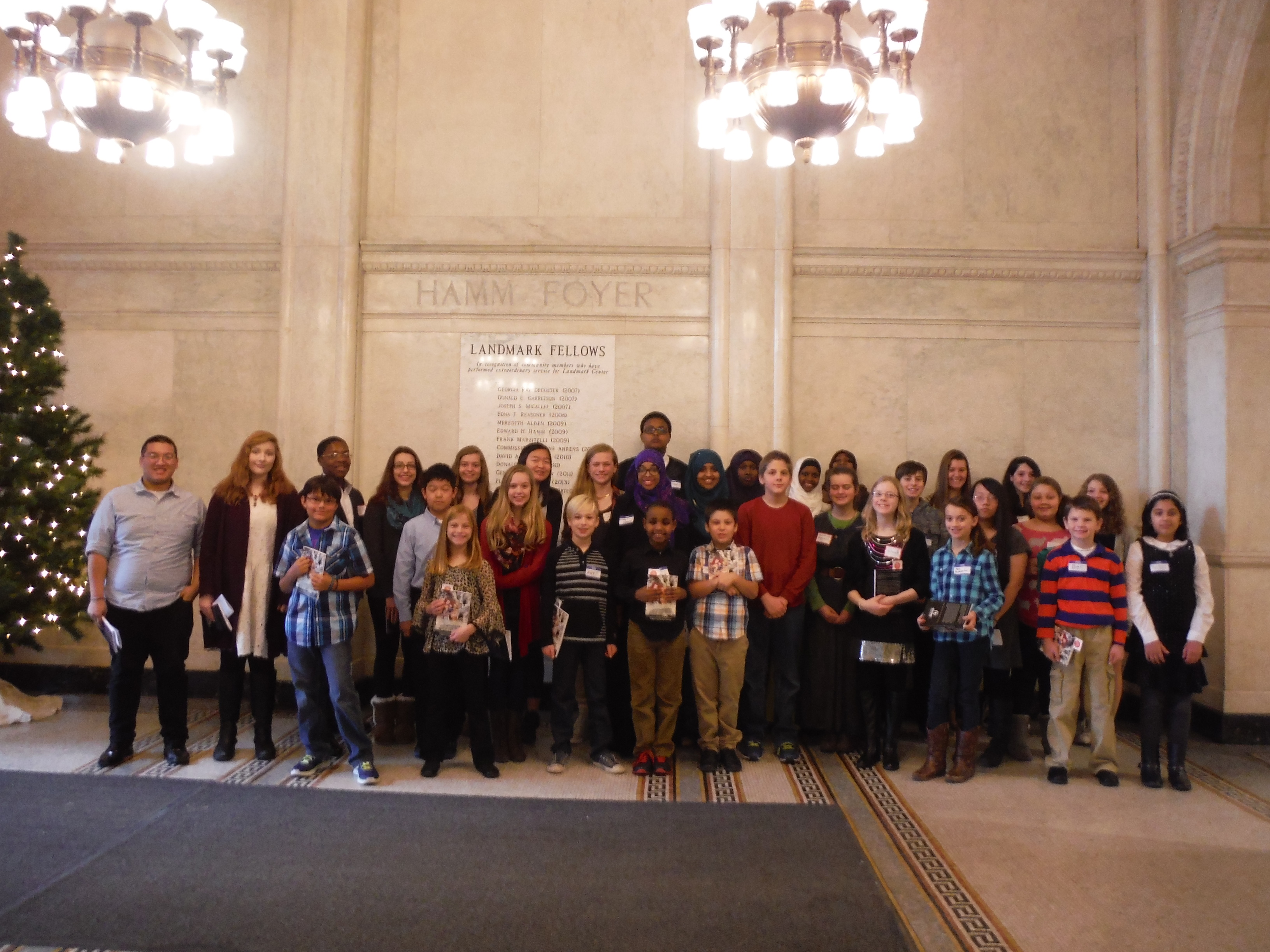 Student authors gather at the start of the Publication Celebration in Landmark Center.