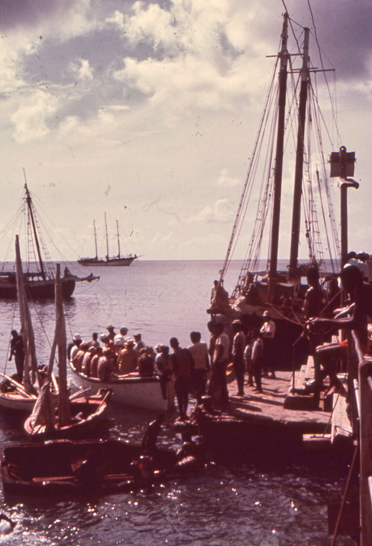 West Indies, 1970. The barquentine Flying Cloud (Capt. Marsh Gabriel) bobs at anchor in the background.