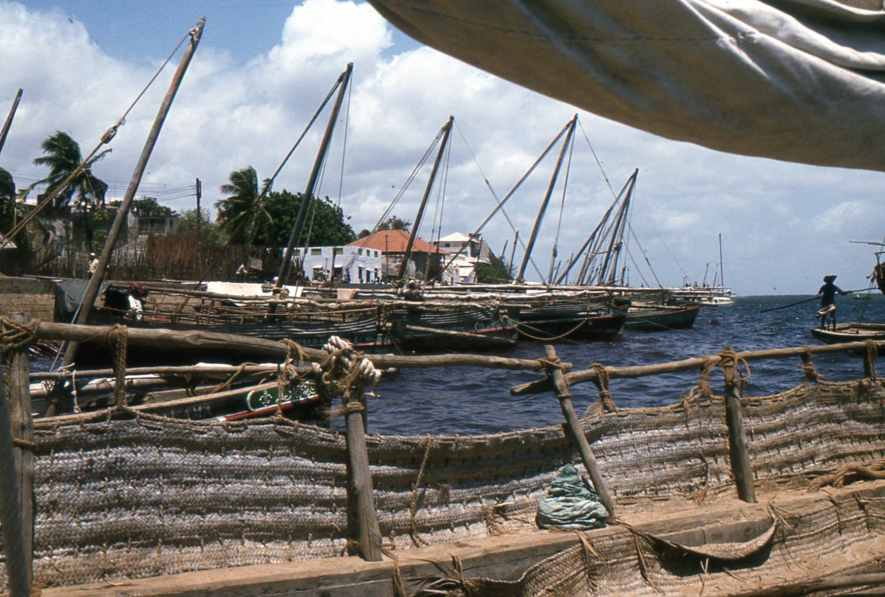 Lamu Town from deck of dhow, off coast of East Africa.