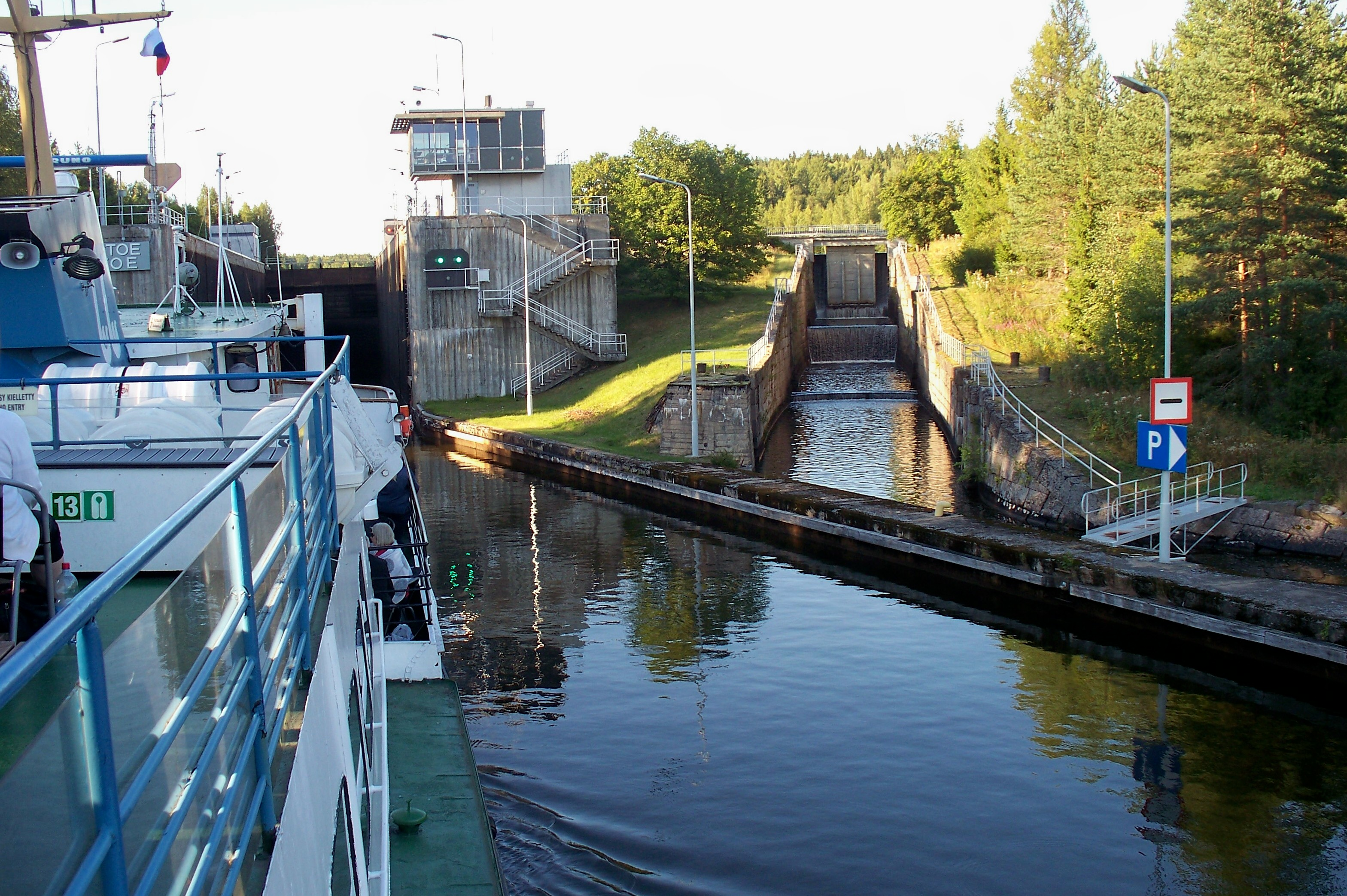 Entering one of the 7 locks on the Saimaa Canal.