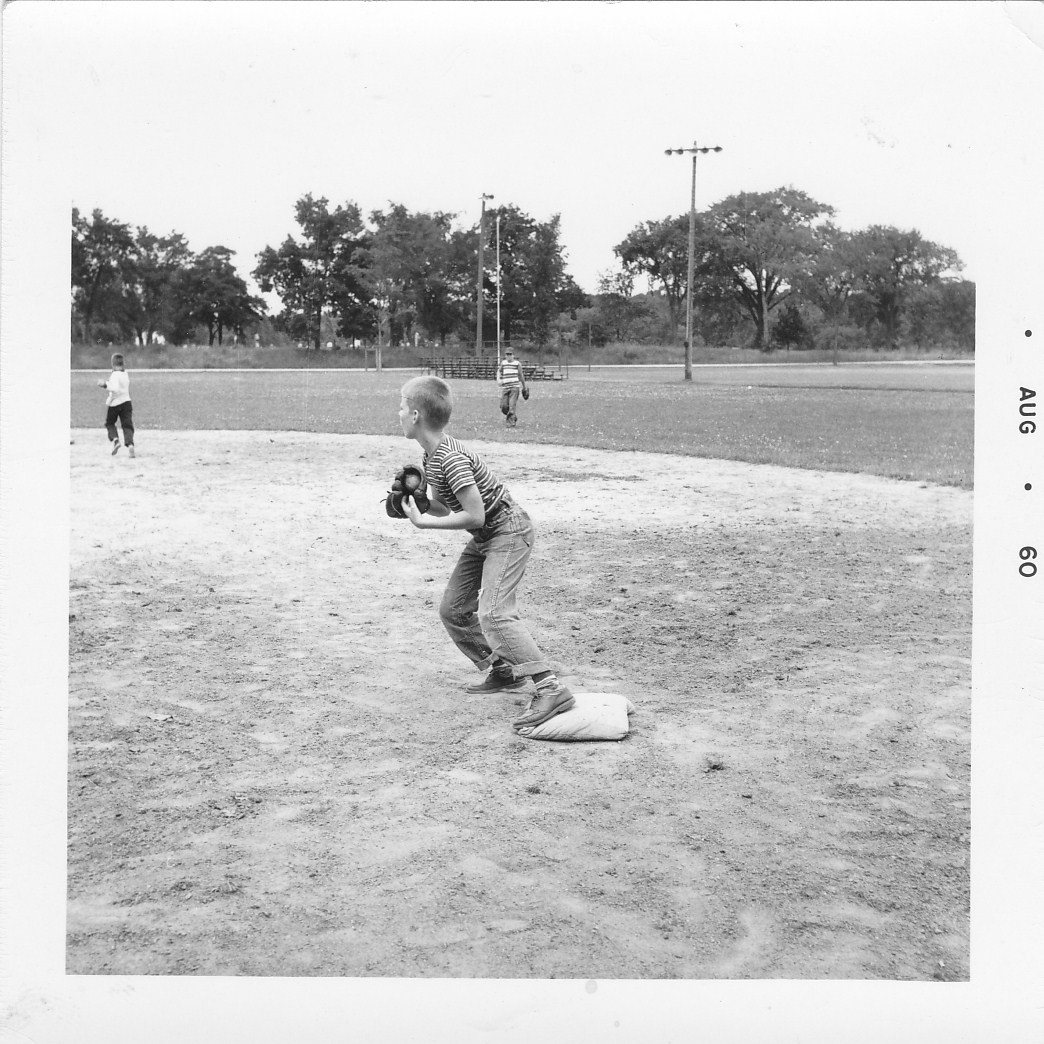 Life on the sandlot—note that I'm still wearing my school shoes. Mom understood the need to get the field ASAP.