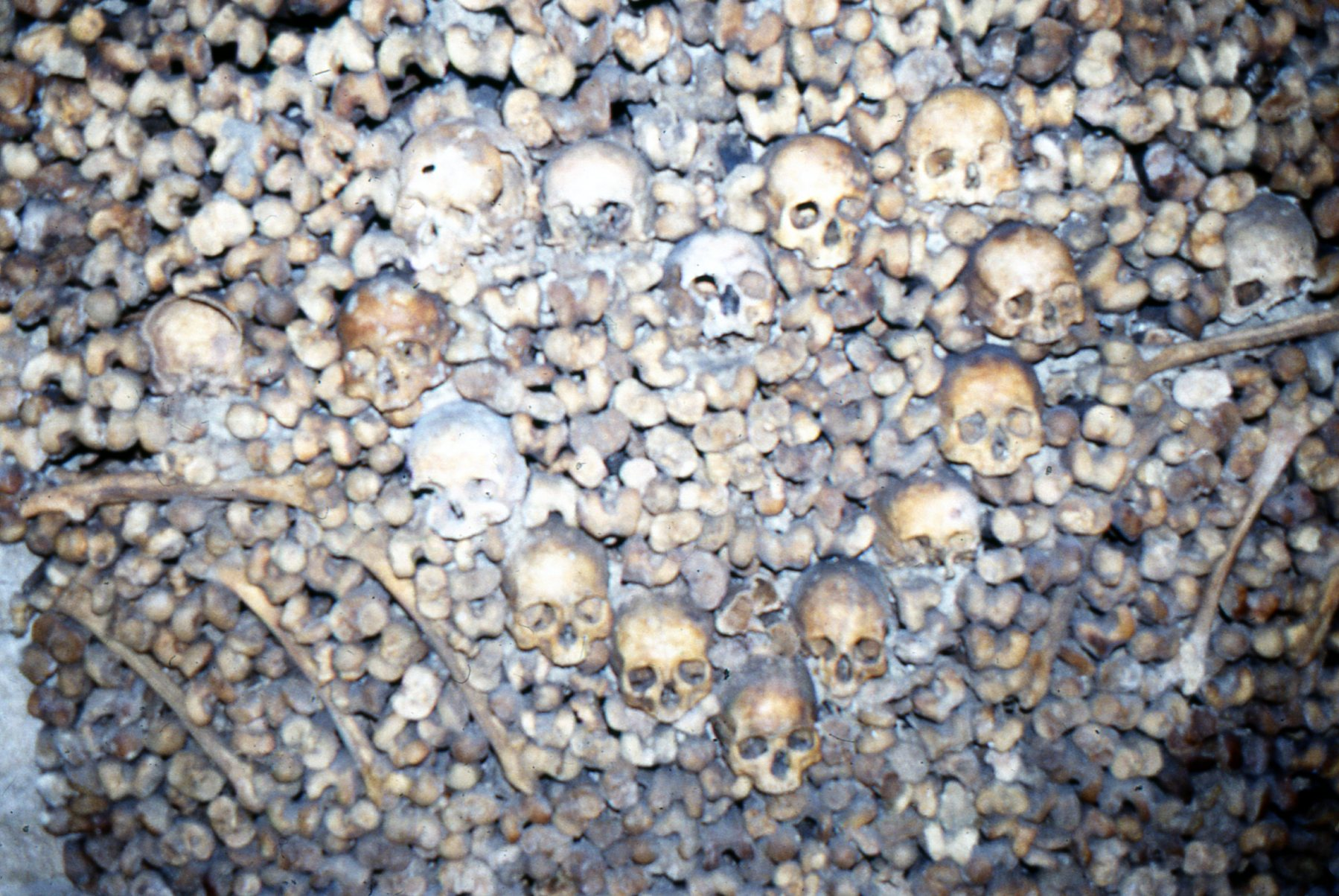 The bizarreness of this Parisian ossuary is heightened by the careful patterning of bone and skull.
